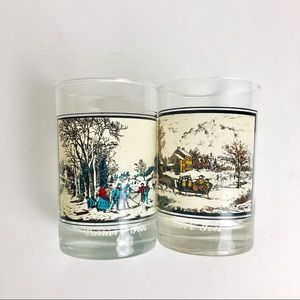 Currier & Ives Arbys VTG Winter Collectors Glasses